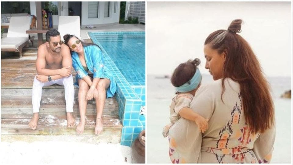 Neha Dhupia with her husband Angad Bedi and daughter Mehr in Maldives.