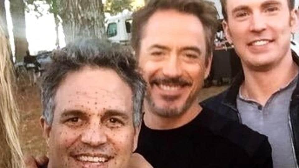Robert Downey Jr, Mark Ruffalo and Chris Evans, on the set of Avengers: Endgame.