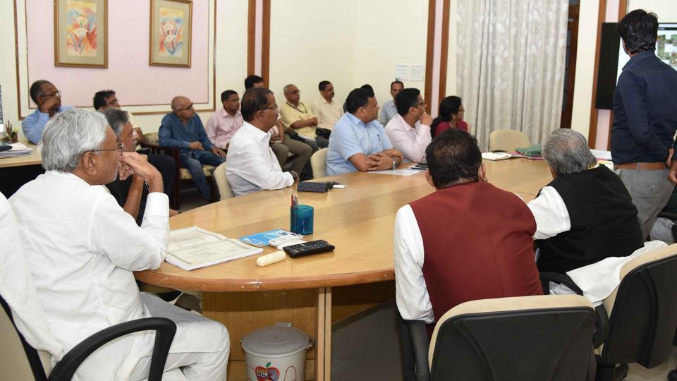 Bihar Chief Minister Nitish Kumar at Main Secretariat in Patna.