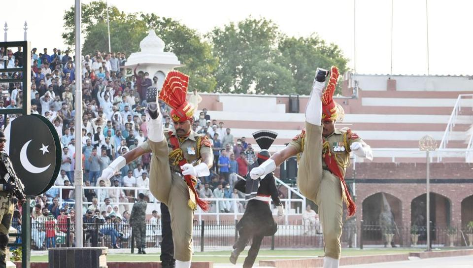 Border Security Force personnel taking part in the Beating Retreat ceremony at the India-Pakistan Wagah border near Amritsar, August 24, 2019.