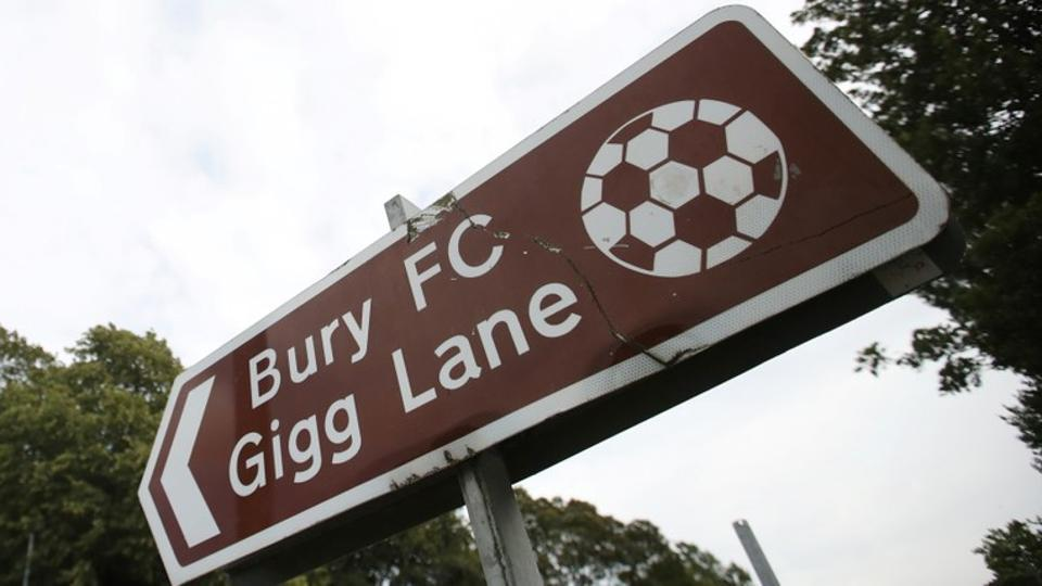 General view of a sign outside the stadium.