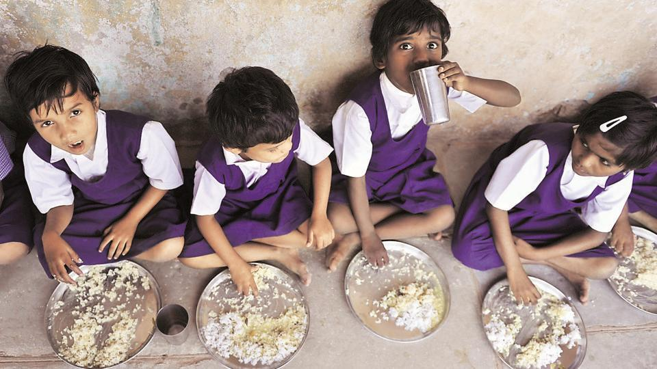 Students having mid-day meal