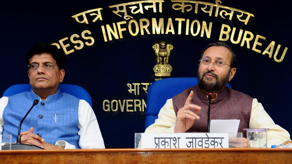 Minister of environment, forest and climate change Prakash Javadekar and minister of railways, Piyush Goyal during a press conference after the cabinet meeting, New Delhi, August 28