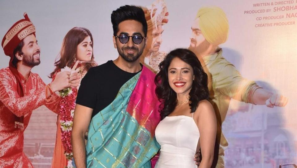 Ayushmann Khurrana and Nushrat Bharucha at the trailer launch of her upcoming film Dream Girl in Mumbai.