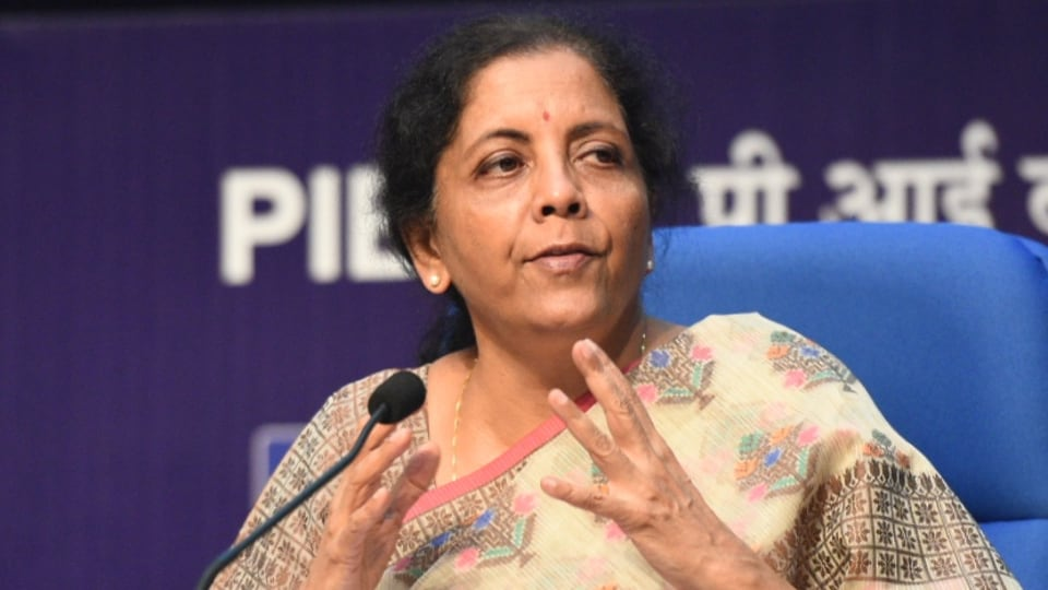 Finance Minister Nirmala Sitharaman during a media briefing on the Gross Domestic Product (GDP) Index at the National Media Centre in New Delhi on Friday.