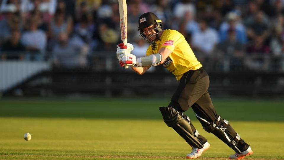 Michael Klinger of Gloucestershire plays a shot during the Vitality Blast match between Gloucestershire and Somerset at Bristol County Ground.