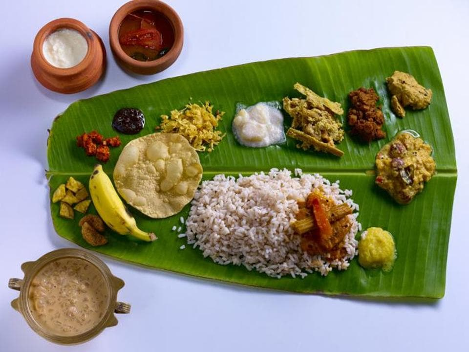 A traditional Onam Sadya is served on a banana leaf, and should have at least 23 items. Now that's what I call a feast!