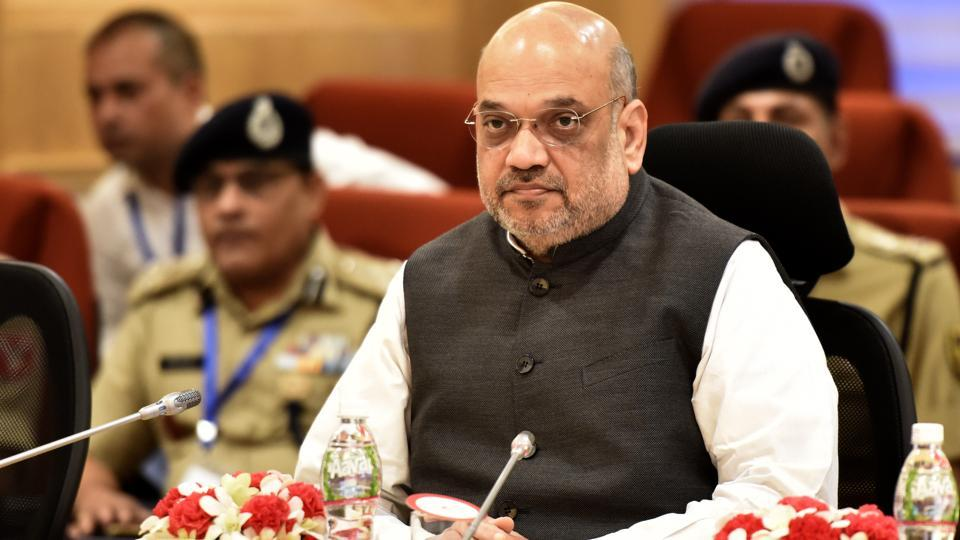 Union Home Minister Amit Shah seen during the review meeting on the Left Wing Extremism (LWE), at Vigyan Bhawan.
