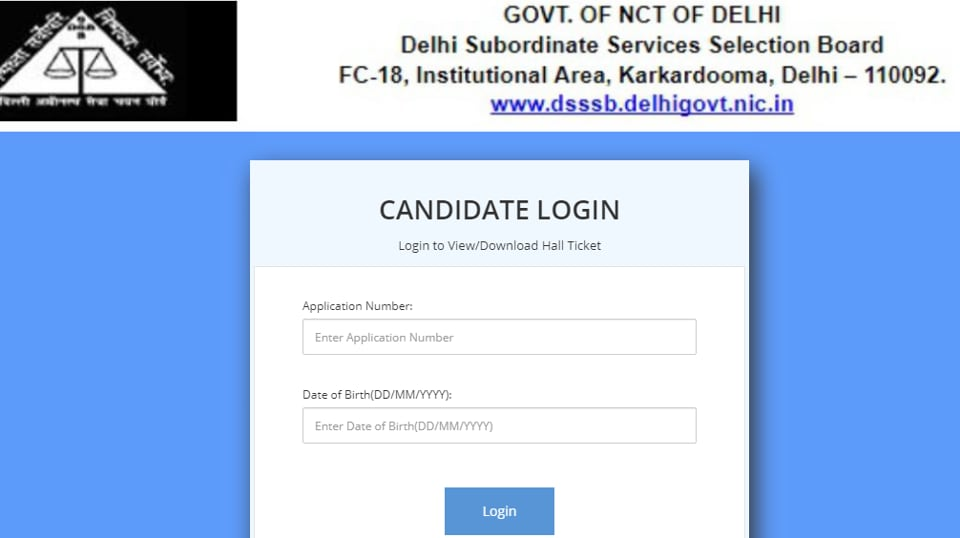Admit cards for Grade IV Junior assistant or post code 20/18 has been released on the official website of Delhi subordinate service selection board. (Screengab)