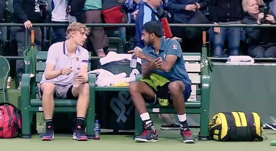 India's Rohan Bopanna (R) and his partner Denis Shapovalov (L)