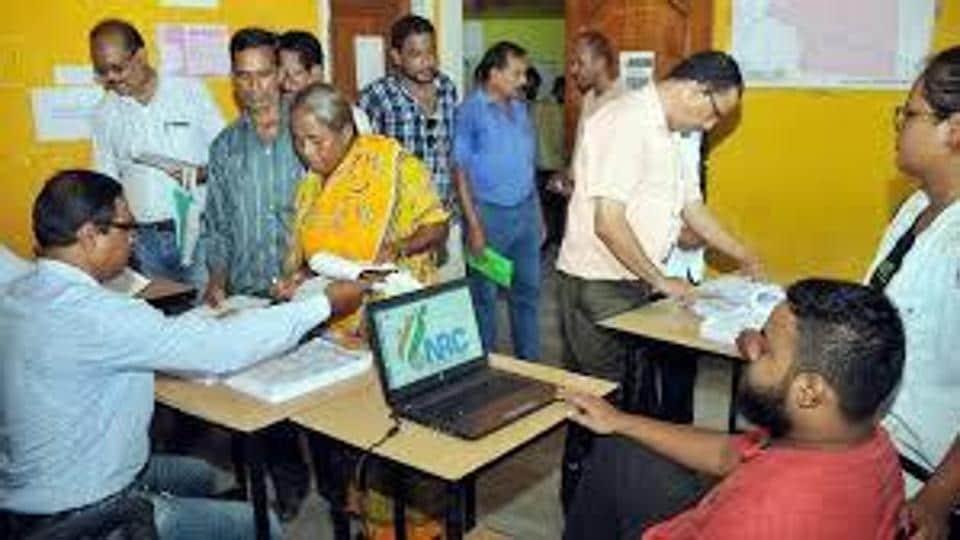 NRCofficials seen working at a centre in Assam.