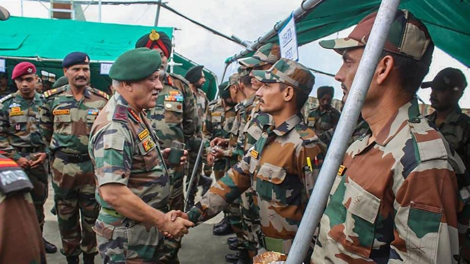Srinagar: Chief of Army Staff, General Bipin Rawat on a two-day visit to the Valley to review the prevailing security situation after the scrapping of Article 370, in Srinagar, Friday, Aug 30, 2019. (PTI Photo/Twitter) (PTI8_30_2019_000192B)