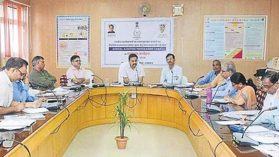 Officials at the inauguration of the annual audit programme in Jaipur in Saturday.