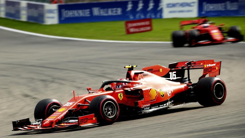 File image of Ferrari driver Charles Leclerc steering his car during the Belgian Formula One Grand Prix.