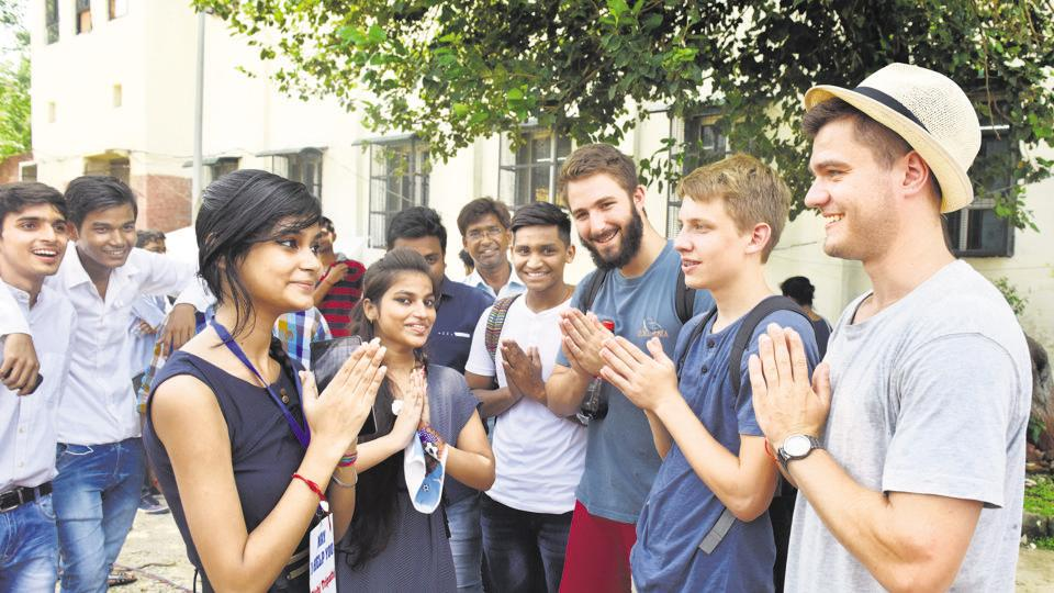 Foreign students at a Delhi college. Enhancing educational connectivity should be a key priority if India wishes to retain its role as the region's intellectual hub
