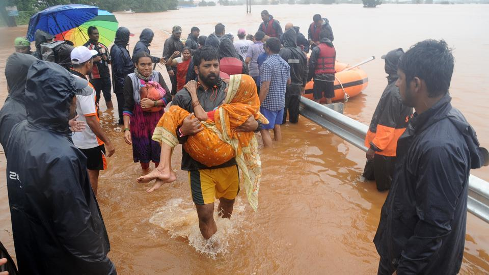 Rescue and relief work  during floods in Kolhapur district of Maharashtra.