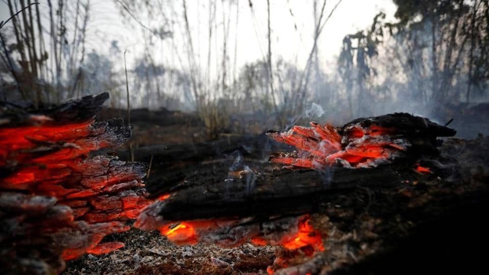 A tract of Amazon jungle burning is seen in Apui, Para state, Brazil on August 30, 2019.