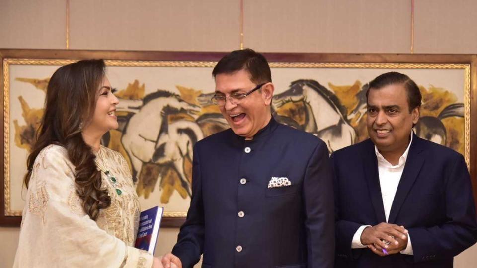 (From left) Nita Ambani, Dr Vijay Haribhakti and Mukesh Ambani.
