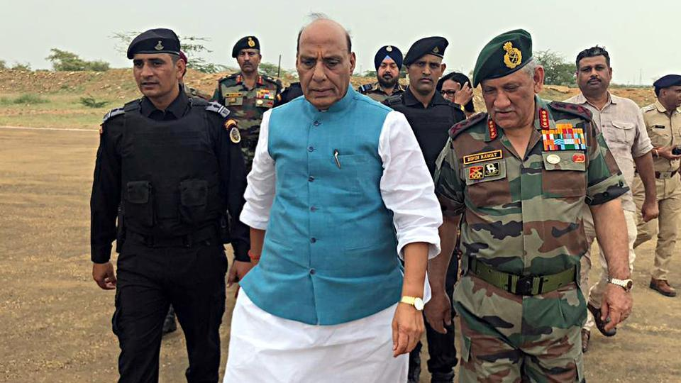 Defence Minister Rajnath Singh and Army Chief Bipin Rawat in Pokhran.