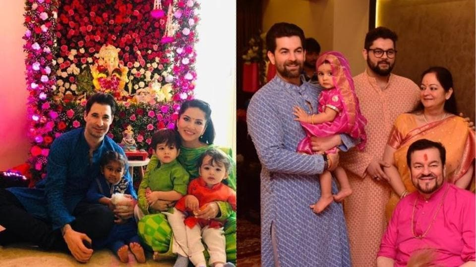 Ganesh Chaturthi 2019: Sunny Leone and Neil Nitin Mukesh with their respective families.