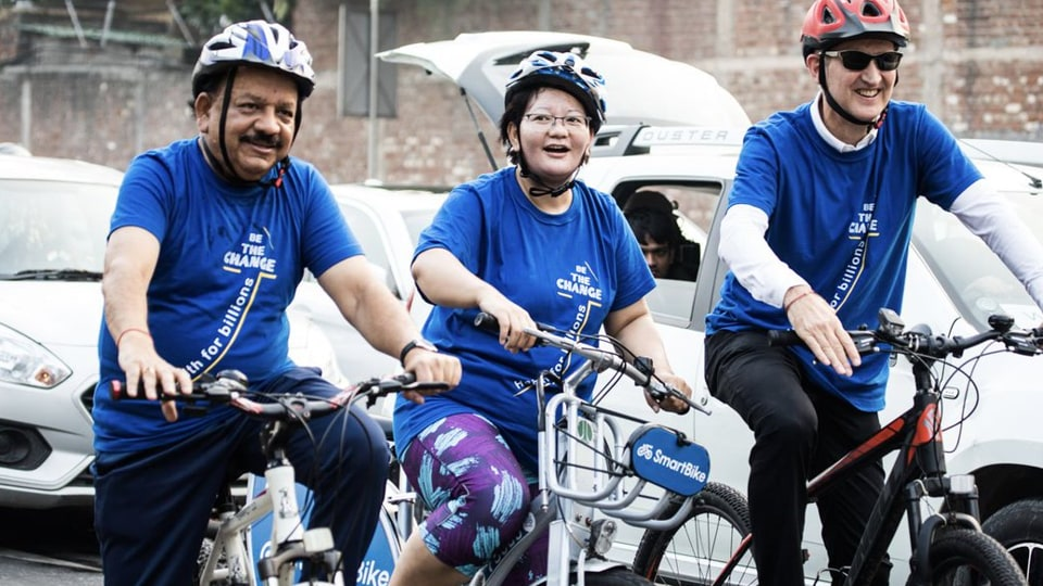 Union minister Dr Harsh Vardhan (left), along with health ministers of other countries, cycled to the venue of a WHO meet in New Delhi, September 3, 2019.