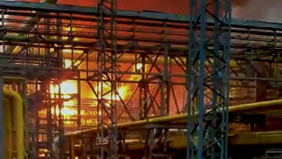 Oil and Natural Gas Corporation's (ONGC) gas processing plant engulfed in flames.