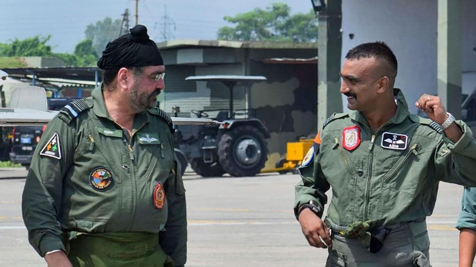 Air Chief Marshal BS Dhanoa and Wing Commander Abhinandan Varthaman after their sortie on the MiG 21 jet, at Airforce Station, Pathankot.