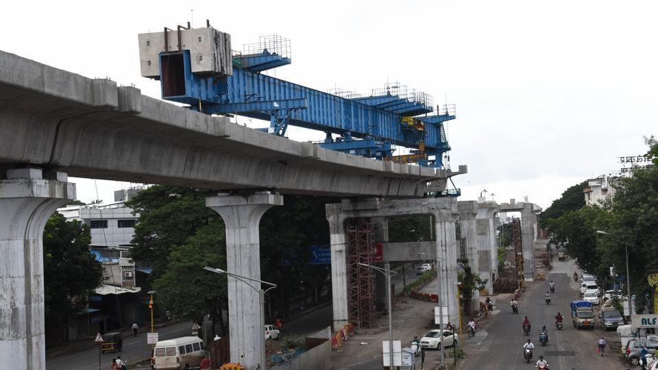 Metro work in progress near Kharalwadi in Pimpri on Monday.