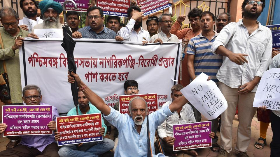 Demonstrators from the Joint Forum Against NRC during a sit in protest against the National Register of Citizens (NRC) list released in Assam , in front of Assam House in Kolkata, on Monday, September 2, 2019.
