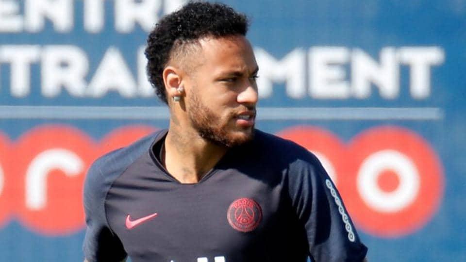 Paris St Germain's Neymar during training.