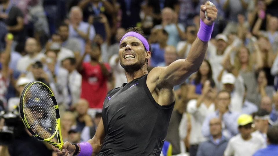Rafael Nadal, of Spain, reacts after winning his match against Marin Cilic, of Croatia.
