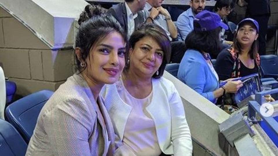Priyanka Chopra with her mother Madhu Chopra at the USOpen Tennis Championships on Tuesday.