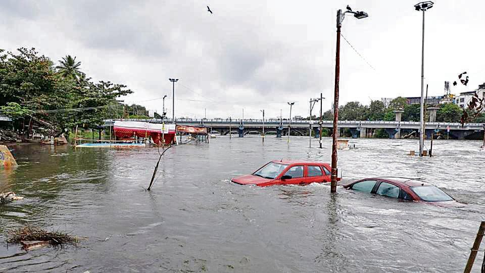 Lo-lying bridges in Pune are close to going underwater on Wednesday.