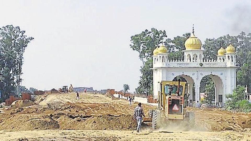 A view of the construction work of Kartarpur Corridor at Dera Baba Nanak district Gurdaspur on Monday. August 26, 2019.
