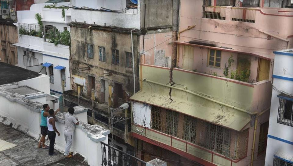 A view of the house that collapsed at Bowbazar area due to the underground metro rail work, in Kolkata. The Kolkata Metro Railway Corporation (KMRC) on Tuesday informed the Calcutta high court that it had stopped underground construction on the East-West Metro corridor, following Sunday's damage to several houses in the central parts of the city during a tunnel-boring work. (Samir Jana / HT Photo)
