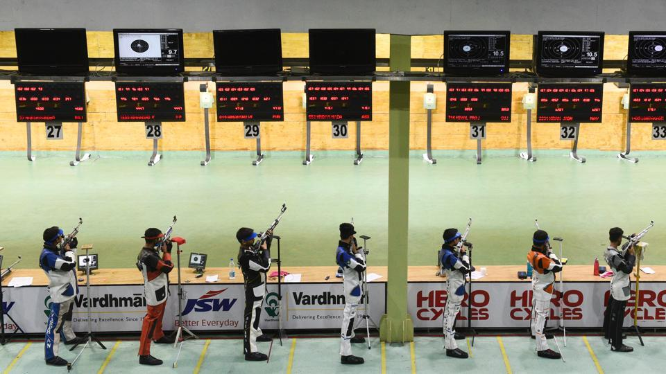 At the Karni Singh shooting range in New Delhi, a prestigious national tournament is flooded by young shooters trying to make their mark, firing alongside the likes of Olympic medallist Gagan Narang. These young shooters have been thrown into the deep end, with spectacular results. In three ISSF (Pistol/Rifle) World Cups this year, Indian shooters have topped the medal tally. Eight quota places for 2020 Olympics have been confirmed so far. (Vipin Kumar / HT Photo)
