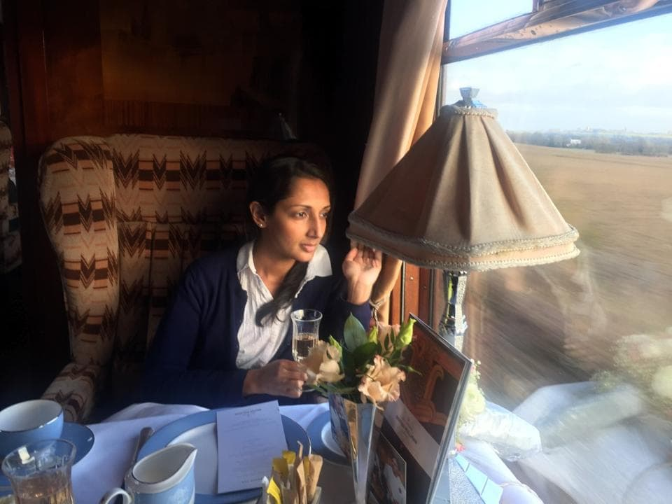 Author Monisha Rajesh on the Belmond British Pullman.