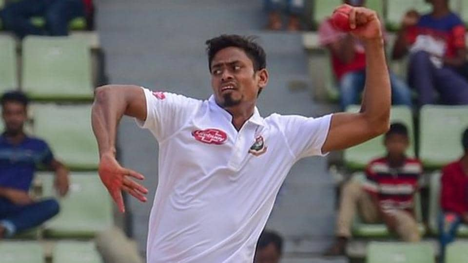 Taijul Islam in action during the Test match between Bangladesh and Afghanistan.