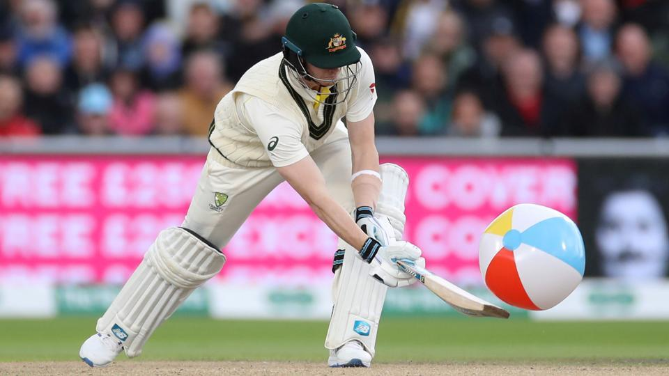 Australia's Steve Smith hits a beachball.