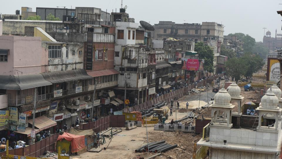 A view of cordoned off roads dug up as part of reconstruction work under the Chandni Chowk redevelopment plan, an initiative by Delhi government, at Chandni Chowk in New Delhi on July 8, 2019.