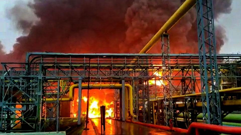 Smoke billowed from a fire at an Oil and Natural Gas Corporation's (ONGC) gas processing plant in Uran area near Navi Mumbai, Tuesday.