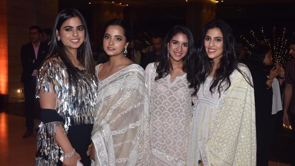 (L-R) Isha Ambani Piramal with cousin Isheta, Radhika Merchant and Shloka Mehta Ambani.
