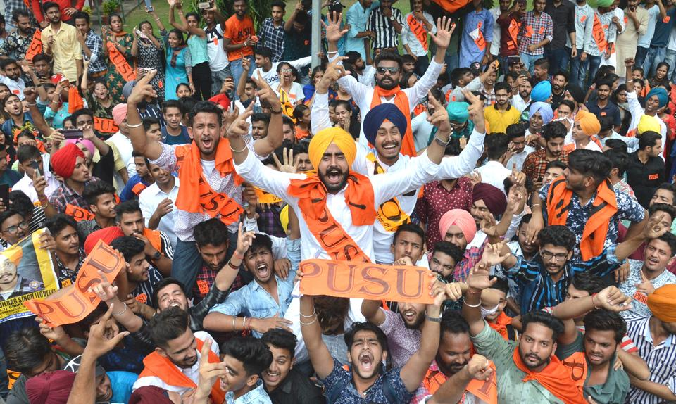 Panjab University Student Union alliance presidential candidate Gurjinder Singh celebrating his victory with his supporters at Post Graduate Government College, Sector 11, in Chandigarh on Friday.