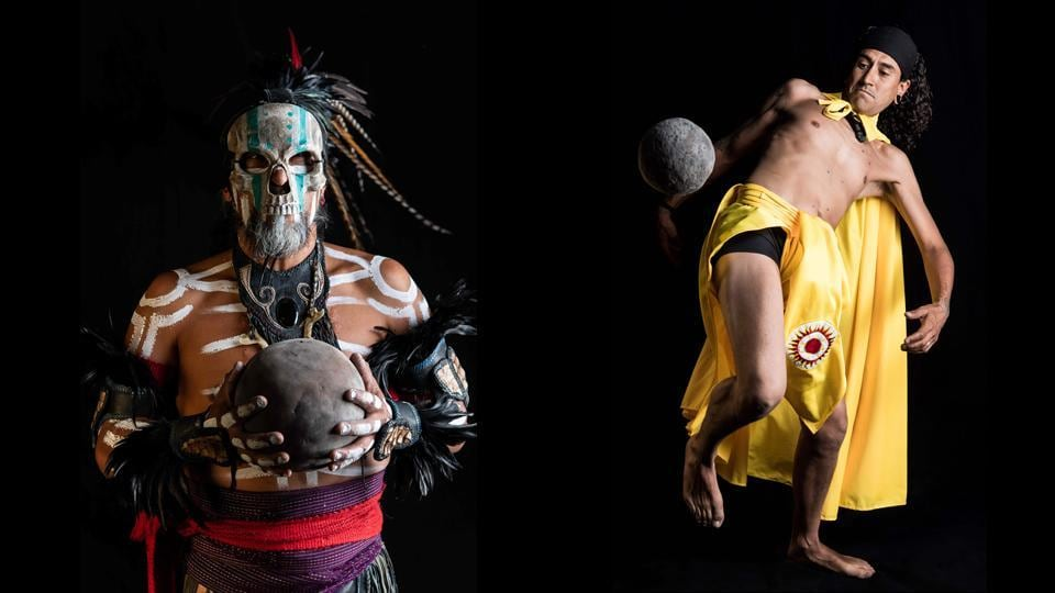"A dancer representing ""Mictlantecuhtli"" (deity of the dead in the Mexica mythology) and a player of ""Ulama"" during a photo session. Pre-Columbian ballgames dating back thousands of years were once played across a broad swathe of the Americas by civilizations including the Mayas, Incas and Aztecs, and they have been revived elsewhere in Mexico and the region in modern times. (Omar Torres / AFP)"