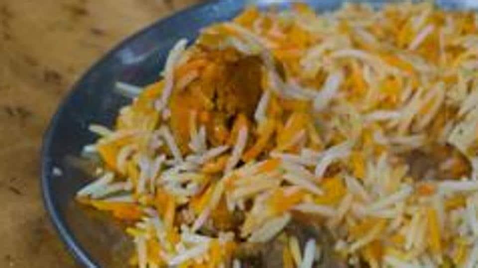 Biryani with Buffalo meat served to Hindu devotees.