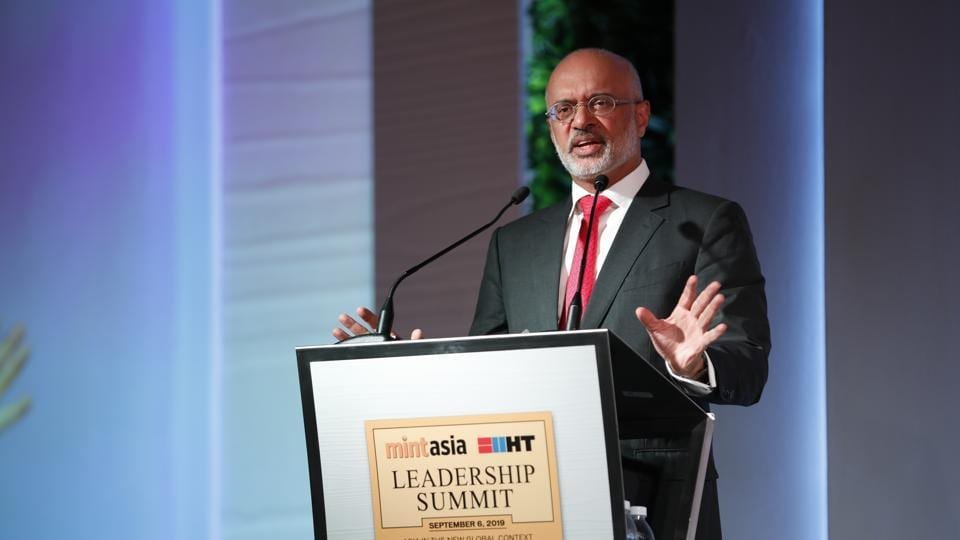 Piyush Gupta, Chief Executive Officer of DBS Group, addresses the audience during the HT MintAsia Leadership Summit, in Singapore, on Friday