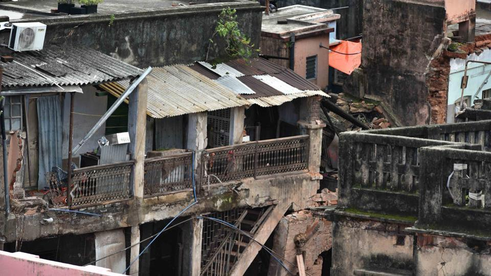 A view of the house that collapsed at Bowbazar area due to the underground metro rail work, in Kolkata, West Bengal