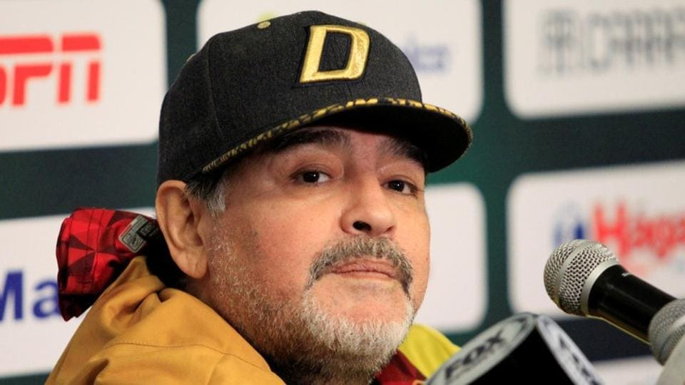FILE PHOTO: Soccer Football - Ascenso MX - Semifinals Second Leg- F.C. Juarez v Dorados - Benito Juarez Stadium, Ciudad Juarez, Mexico -November 24, 2018. Dorados coach Diego Maradona attends a news conference . REUTERS/Jose Luis Gonzalez