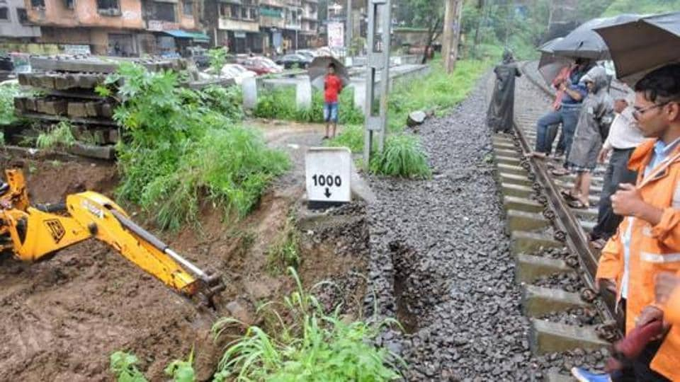 Mudslide between Belapur and Targhar led to local services on Belapur-Kharkopar line being suspended for the entire day on Wednesday, affecting more than 7,000 commuters who travel on the route.