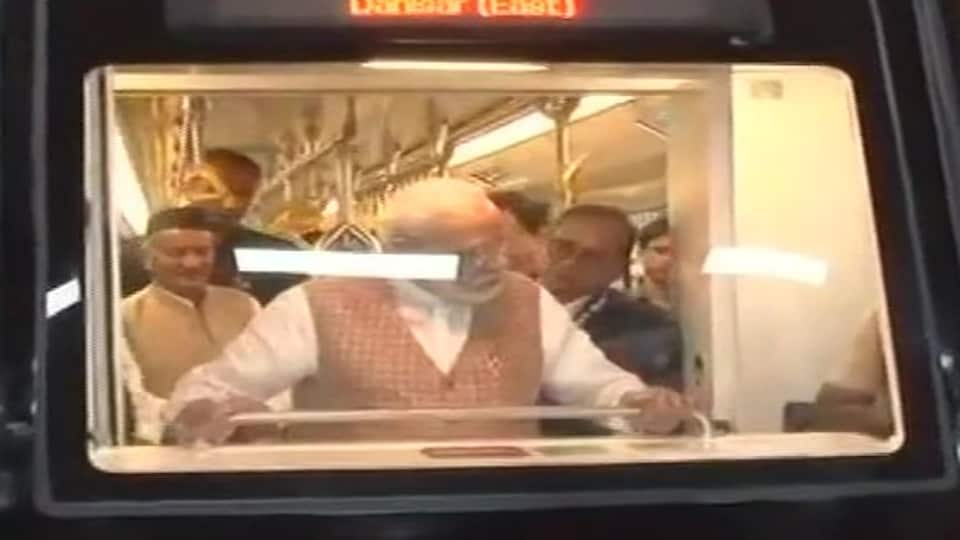 Prime Minister Narendra Modi onboard a state of the art metro coach, the first metro coach manufactured under Make in India